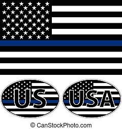 美國, 條紋, 旗, 藍色