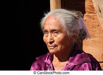 美麗的婦女, 太陽, 年長, 明亮, 在戶外, navajo