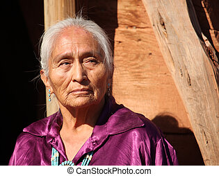 美麗的婦女, 老, 年長, 77, 年, navajo