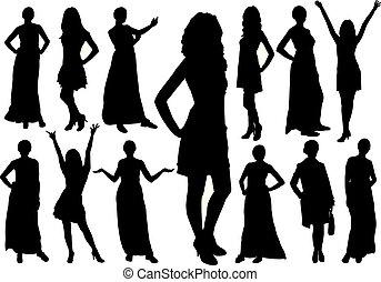 美麗, 不同, 集合, 女孩, poses., 黑色半面畫像, 矢量, 模型