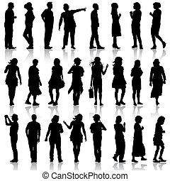 美麗, 人, illustration., 婦女, 背景。, 黑色半面畫像, 矢量, 黑色, 白色