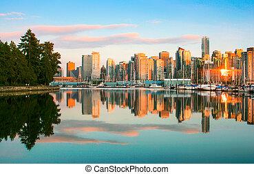 美麗, 公園, 地平線, 溫哥華, 斯坦利, 傍晚, 看法