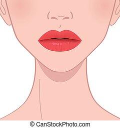 美麗, 嘴唇, 紅色, 女性