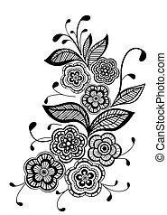 美麗, 圖案, 元素, 設計, 植物, 黑色, 白色