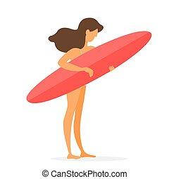 美麗, 夏天, 年輕, 衝浪運動員, 板, 女孩, 海灘
