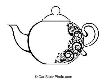 美麗, 外形, similarities, 很多, ornament., 裝飾, 黑色, author's, 植物, 白色, 茶壺