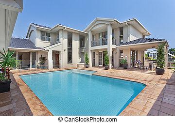 美麗, 大廈, 澳大利亞人, 池, 後院
