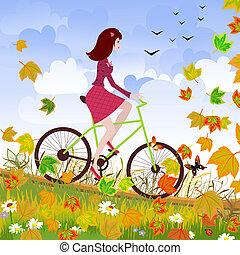 美麗, 女孩, 自行車