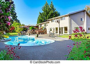 美麗, 小, 游泳池, 後院