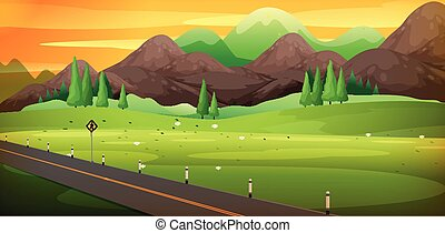美麗, 山, 農村, 場景, 路