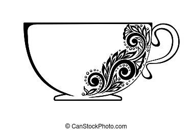 美麗, 杯子, 裝飾品, 黑色, 植物, 裝飾, 白色