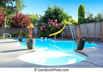 美麗, 柵欄, 小, 后院池, 游泳