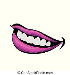 美麗, 無光油漆, 婦女, 唇膏, 紫色, 向上, 插圖, 嘴唇, 關閉, .vector, 看法