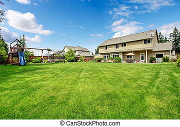 美麗, 玩, 柵欄, house., 大, 後院, 地面