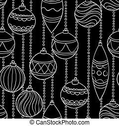 美麗, 球, 圖案, 黑色, 白色 聖誕節, 單色