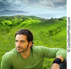 美麗, 穿, good-lookiing, 自然, 放松, 年輕, 确定, 綠色, 肖像, 毛線衫, 人