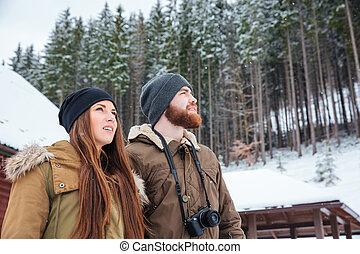 美麗, 站立, 冬天, 夫婦, 年輕, 森林, 享用