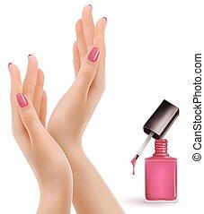 美麗, 粉紅色, 擦亮, vector., 釘子, 女性的手, bottle.