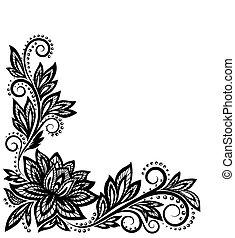 美麗, 老, 圖案, 元素, 設計, 植物, style.