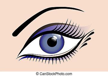 美麗, 藍色, 婦女, 眼睛