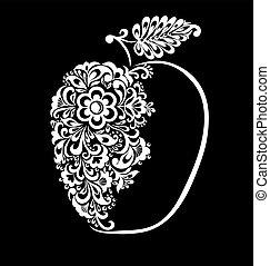 美麗, 蘋果, isolated., 圖案, 黑色, 植物, 單色, 白色, 裝飾
