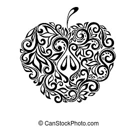 美麗, 蘋果, pattern., 黑色, 植物, 白色, 裝飾