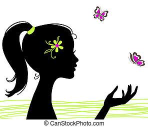 美麗, 蝴蝶, 女孩, 黑色半面畫像