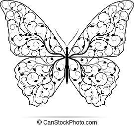美麗, 蝴蝶, pattern., 植物