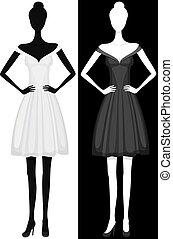 美麗, 衣服, 女孩, 矢量, 黑色半面畫像