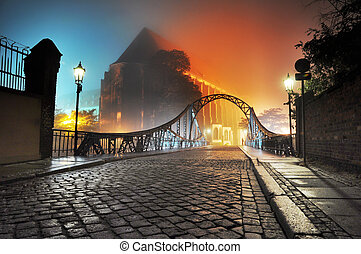 美麗, 鎮, 舊的橋, 夜晚, 看法