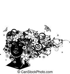 美麗, 頭髮, 花, 婦女, 做