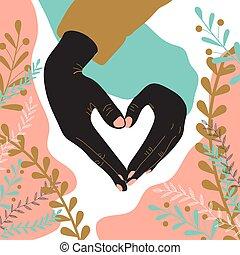 美麗, 顯示, 手, 關閉, 人, heart., 形狀。, 黑人婦女, 心, 顯示