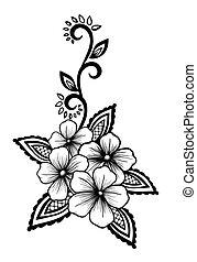 美麗, 黑白, 設計, 植物, 花, 離開, element.