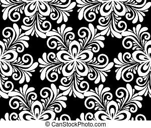 美麗, pattern., seamless, 黑色, 植物, 單色, 白色
