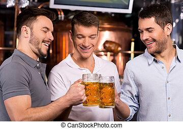 老, 人, 三, 年輕, 快樂, 啤酒, meeting., 酒吧, 喝酒, 朋友