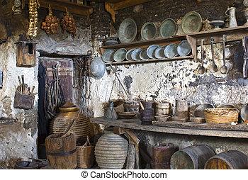 老, 修道院, 裡面, 傳統, 希臘語, meteora, 廚房