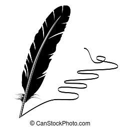 老, 寫, 矢量, 單色, 羽毛, 繁榮