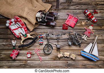 老, 木制, -, 圣誕節裝飾, 孩子, 罐玩具, vint