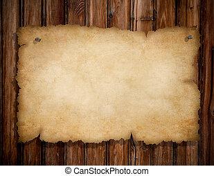 老, 木制, 釘子, 撕破, 別住, 牆, 紙, grunge