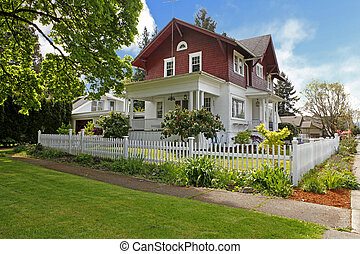 老, 第一流, 房子, 大, 美國人, 工匠, exterior.