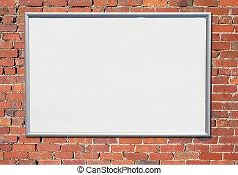 老, 簽署, 廣告欄, 磚, wall., 紅色