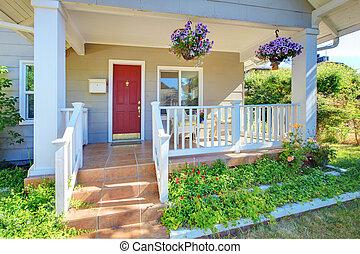 老, 門廊, 房子, door., 灰色, 外部, 前面, 紅色