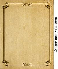 老, 非常, 紙, 背景, 空白, 邊框, 紙卷