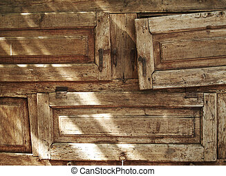 老, textured, 木頭, forniture, 抽屜