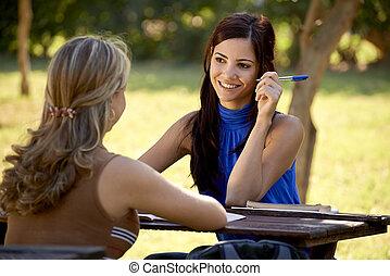 考試, 談話, 年輕, 大學, 學生, 學習, 學院