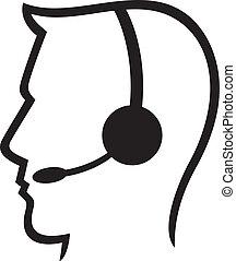 耳機, c, 符號, (man, 電話, 耳機
