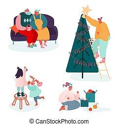 聖誕節, 家庭, 歡樂, 壁爐, 集合, 父母, year., 人們, 字符, 慶祝, 聖誕節禮物, 季節, 裝飾, 頌歌, 唱歌, scene., 孩子, 插圖, 新, 矢量, 冬天, 包裝, 樹