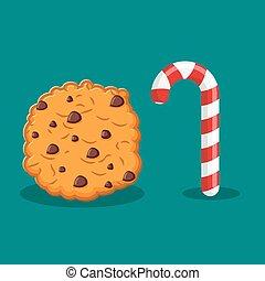 聖誕節, 棍, 食物, cookies., delicacy., 糖果, 簽署, year., 薄荷, 甜, 新, celebratory, 假期, 薄荷, 糖果, cookie.