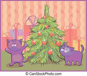 聖誕節, 矢量, 樹, 插圖, 貓