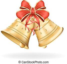 聖誕節, eps10, 插圖, 弓, 背景。, 矢量, decorations., 白色, 聖誕節, 紅色, 鈴